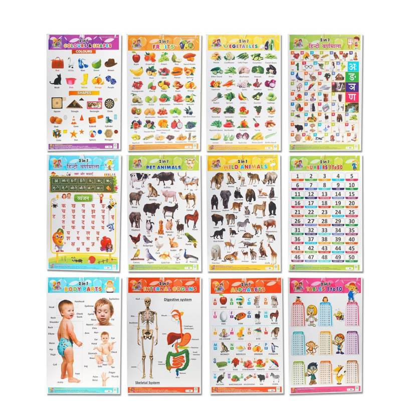 Mehta Graphics Pre School Learning Charts For Kids Combo Of 6