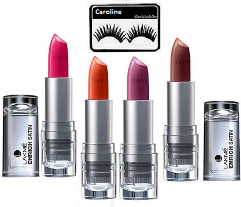 4f89569c96 Caroline eyelashes with lakme 9 to 5 enrich lipstick (set of 4) (Set of 5)