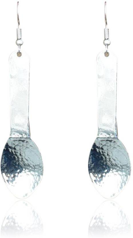 44ffa010a Flipkart.com - Buy Him & Her Brass Spoon Shaped Earrings with Hammered  Silver Finish Metal Dangle Earring Online at Best Prices in India