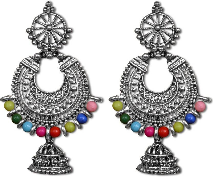 47db281a9 Anish Silver Oxidised Chandbali Earrings with multicolor beads, Latest Chandbali  Earrings for Women and Girls