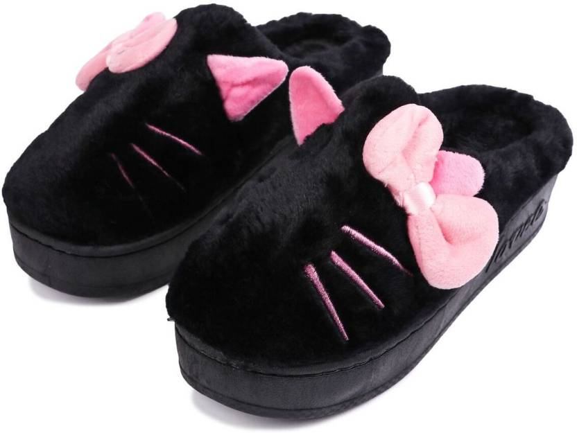 3c02b682f0616 Brauch Black Bow And Kitty Winter Slippers - Buy Brauch Black Bow And Kitty  Winter Slippers Online at Best Price - Shop Online for Footwears in India  ...