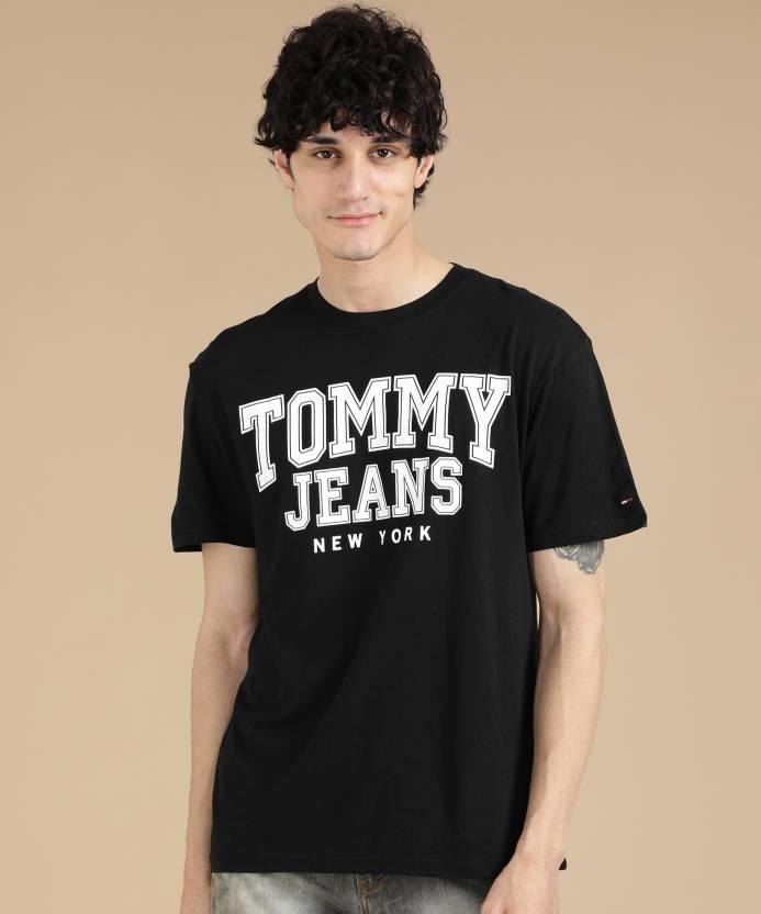 ff2b47a603 Tommy Hilfiger Printed Men Round Neck Black T-Shirt - Buy Tommy Hilfiger  Printed Men Round Neck Black T-Shirt Online at Best Prices in India