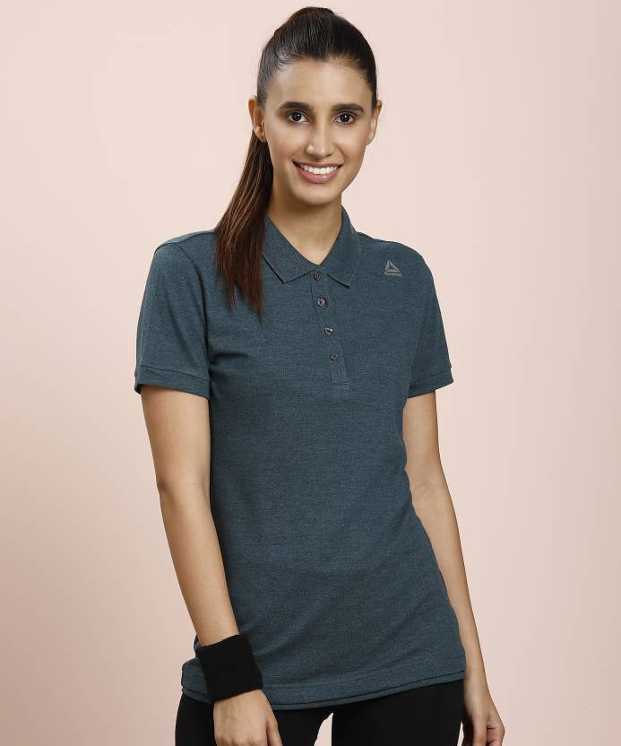9751d9e82c5258 REEBOK Solid Women s Polo Neck Green T-Shirt - Buy Minblu REEBOK Solid  Women s Polo Neck Green T-Shirt Online at Best Prices in India