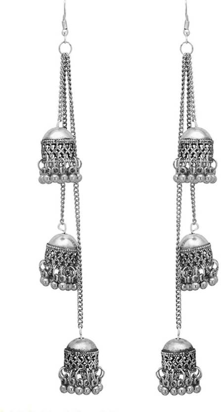 0f3c99c83 Flipkart.com - Buy drp fasion DRP Production Fashion Stylish Oxidised  Afghani Tribal Fancy Party Wear Earrings for Girls and Women (Silver)  Crystal Lac ...