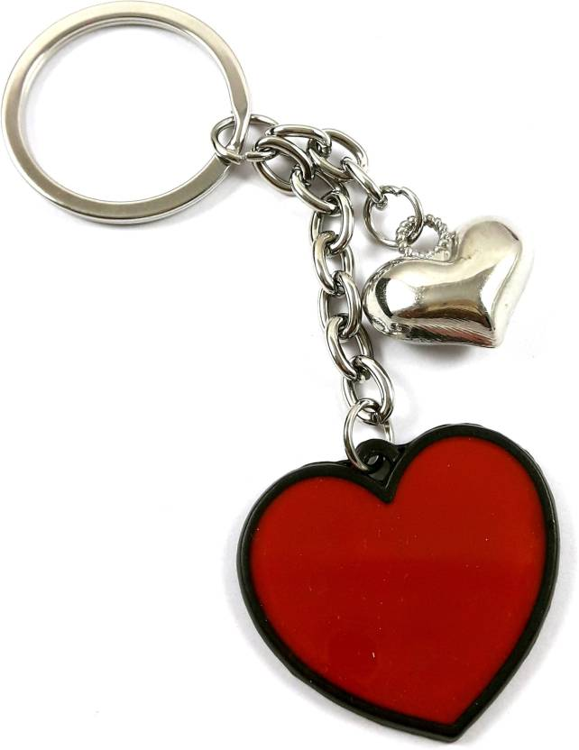 92aade1504 Urvi Creations Twin Love Heart Shape Red and Chrome Key Chain for Girlfriend  Boyfriend Lover Valentines Day Gift Key Ring Latter's Keychain Key Chain  Price ...