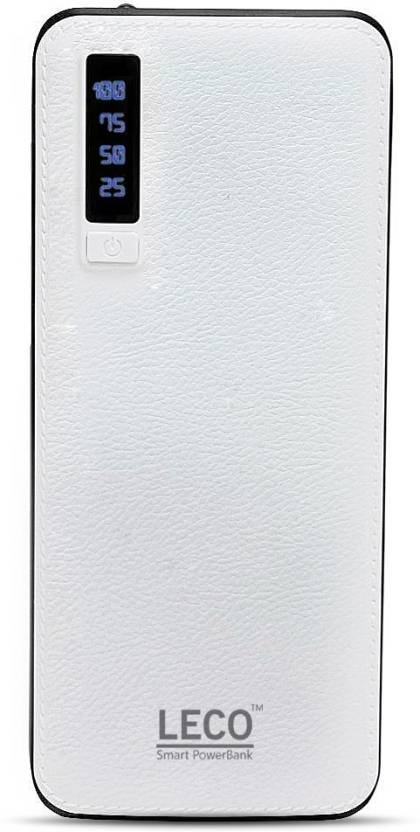 Leco 20000 Power Bank (LECO20KW, 20000mAh power bank with 2.1 amp fast charging)  (White, Lithium-ion)