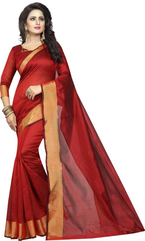 07473cdc9e Buy Yashika Plain Daily Wear Cotton Silk Red Sarees Online @ Best ...