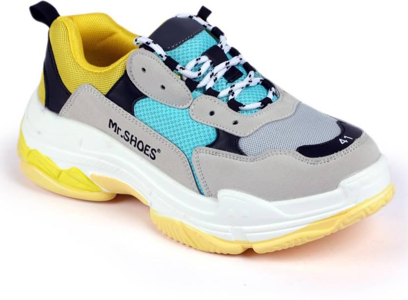 size 40 5f936 2eeba Mr.SHOES 1826-2 TRIPLE S Running Shoes For Men (Yellow, Grey, Blue, Black)