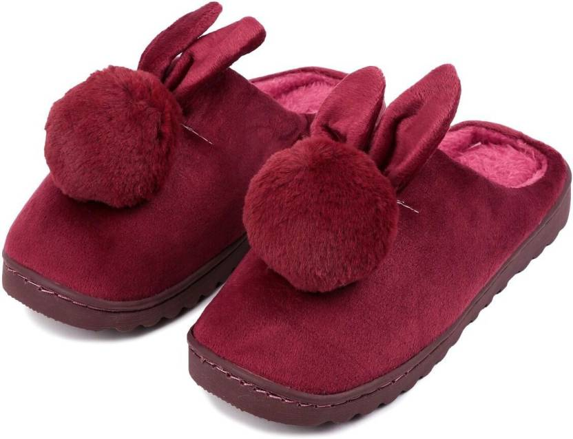 1808a70ee Brauch Maroon Fur Bunny Winter Slippers - Buy Brauch Maroon Fur Bunny  Winter Slippers Online at Best Price - Shop Online for Footwears in India