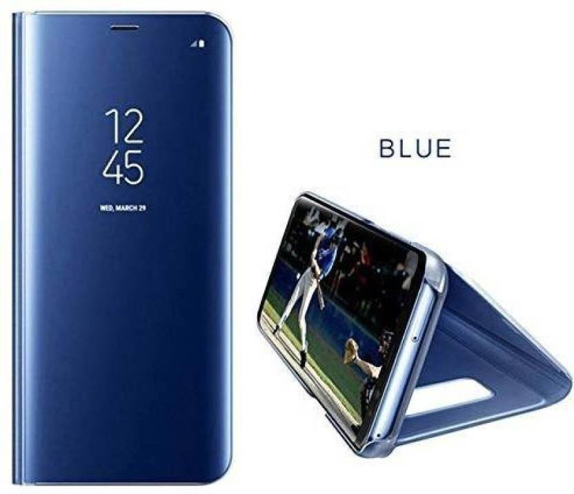 Maggzoo Flip Cover for VIVO V9 Blue Mirror Smart Case Clear