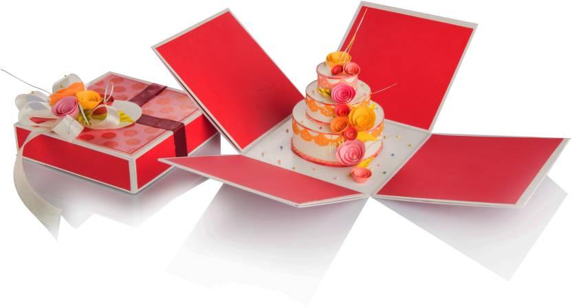 Swapnil Arts Handmade Birthday 2 Layered Explosion Box Red Color