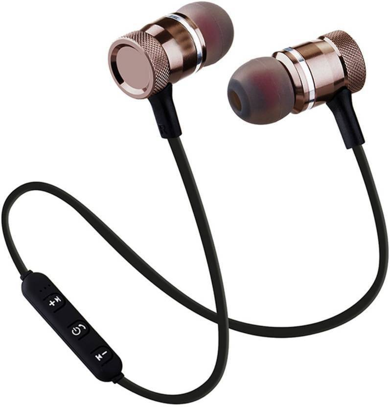 Leco Magnetic Bluetooth Headset with Mic  (Black, In the Ear)