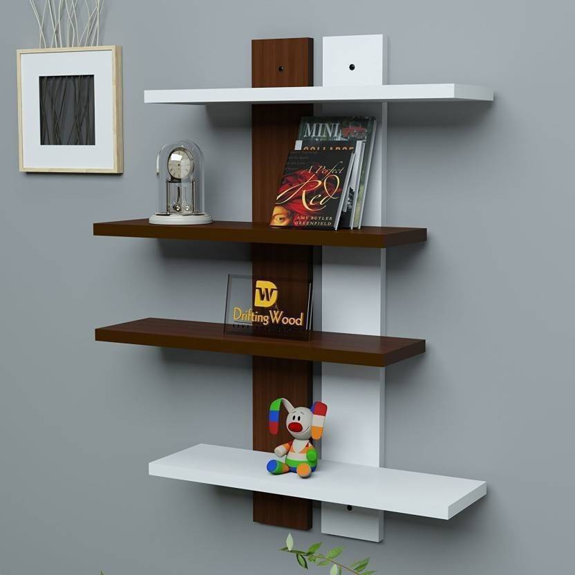 Craft Bedroom Wall Decor Wooden Shelf Number Of Shelves 4 Brown White