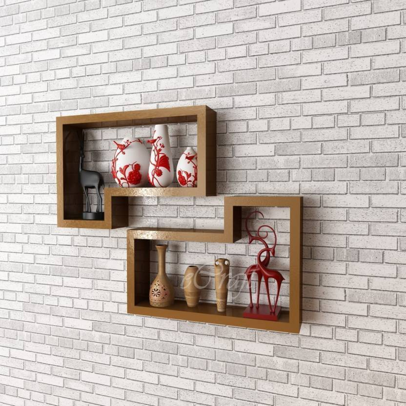 a2ca75f2b9 StoreOnline New Design Wood Wall Decor Wooden Wall Shelf (Number of Shelves  4 Brown) Wooden Wall Shelf (Number of Shelves - 4, Brown)