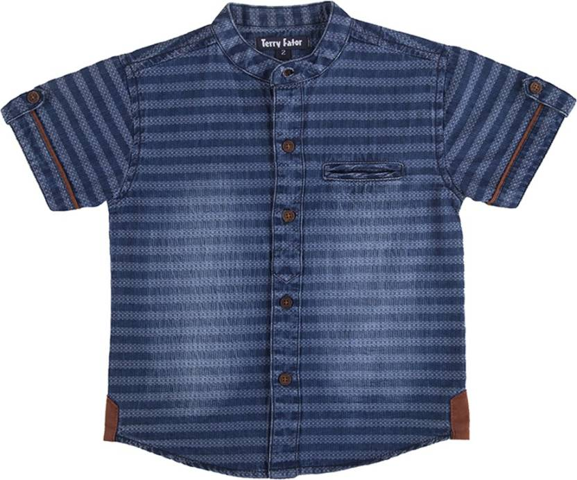 92b8b8e5 Terry Fator Baby Boys Striped Casual Blue Shirt - Buy Terry Fator Baby Boys  Striped Casual Blue Shirt Online at Best Prices in India | Flipkart.com