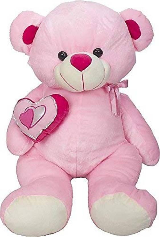Skull-I Cute & Hugable Pink Teddy Bear with Heart in Teddy