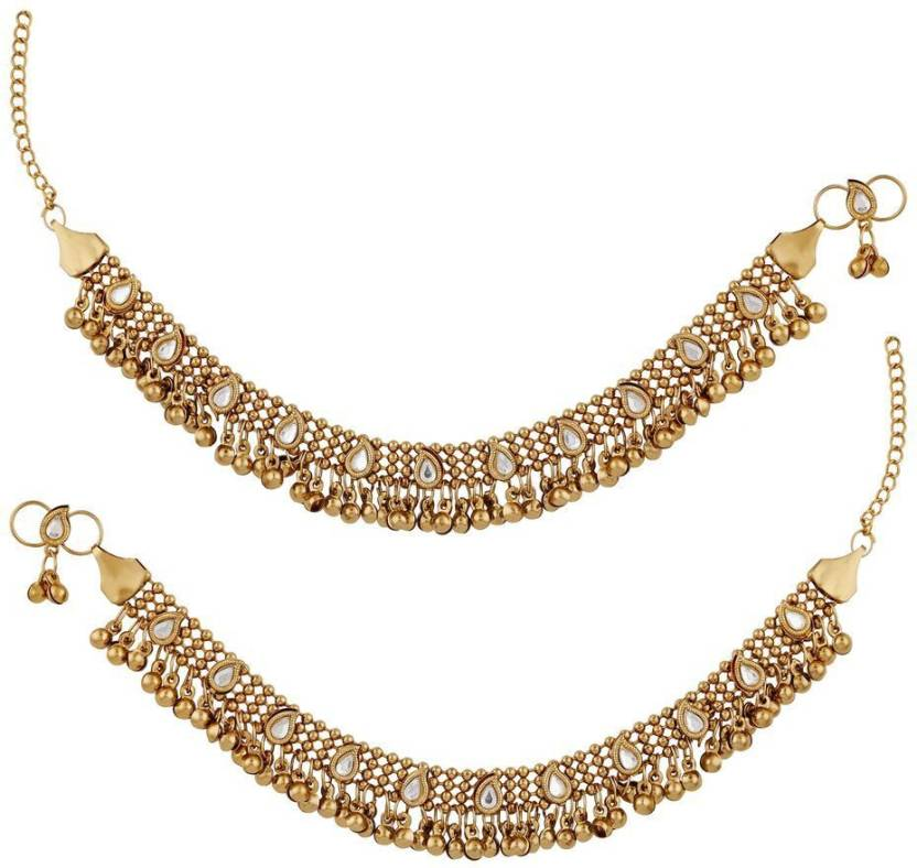 98d5db4ad8 Meenaz Meenaz Traditional Jewellery Gold Oxodised Chain Payal Anklets for  Women/Anklet for Girls Stylish Party wear Necklace Jewellery Set for women  girls- ...