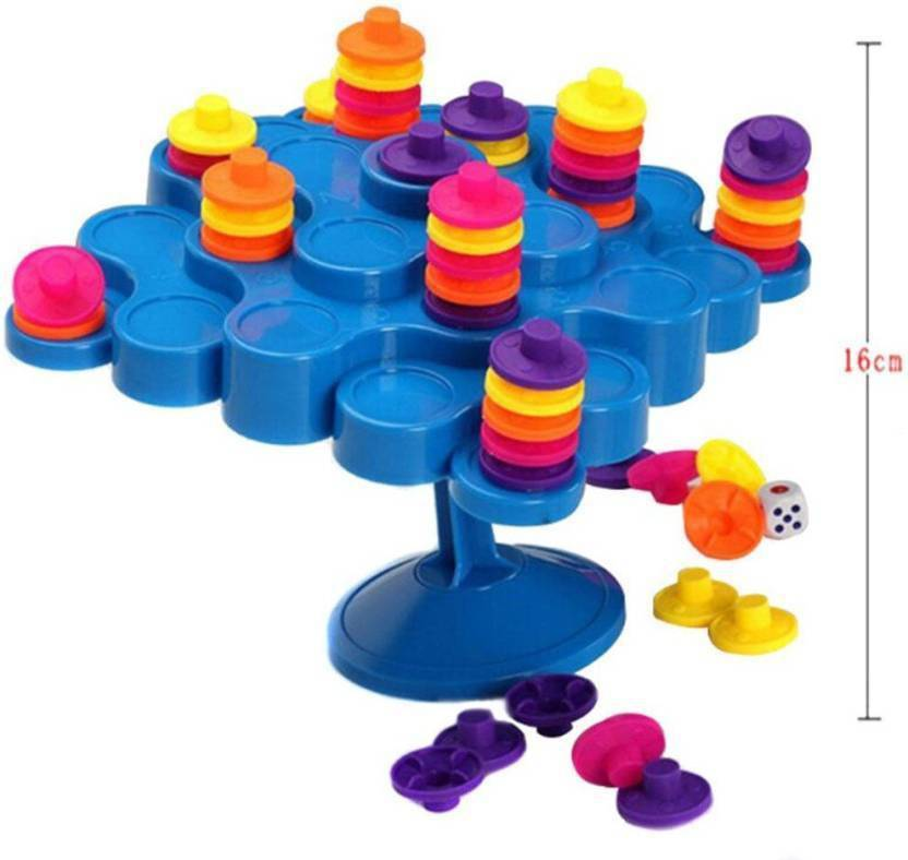 M-Alive Little Treasures Balancing Stand Tic-Tac-Toe Topple Game a Fun Family Game, 2-4 Players Board Game