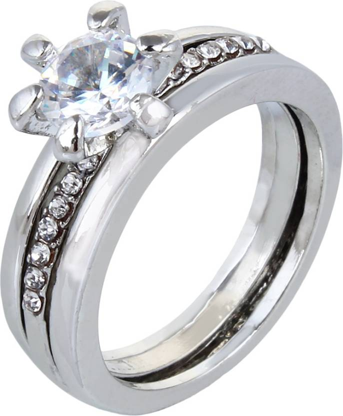 Fabula Silver Crystal Solitaire Love Engagement Brass Crystal Silver