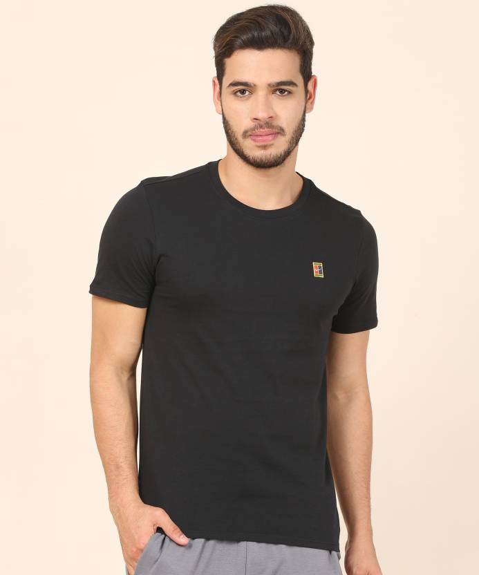 fdc0d1c9c92 Nike Solid Men Round Neck Black T-Shirt - Buy Nike Solid Men Round Neck  Black T-Shirt Online at Best Prices in India