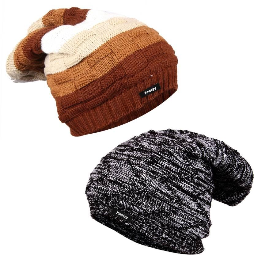 654f997bf71 Knotyy Striped Beanie Cap - Buy Knotyy Striped Beanie Cap Online at ...
