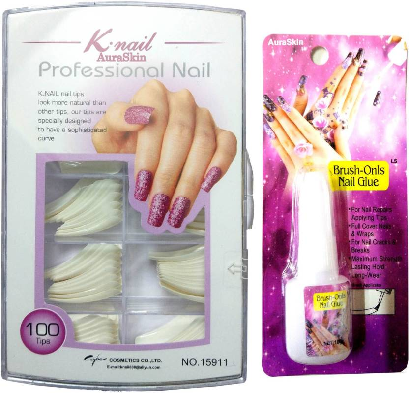 AuraSkin artificial shining french manicure fake nails french nails white  with Nail Glue (white) fd608c2cea
