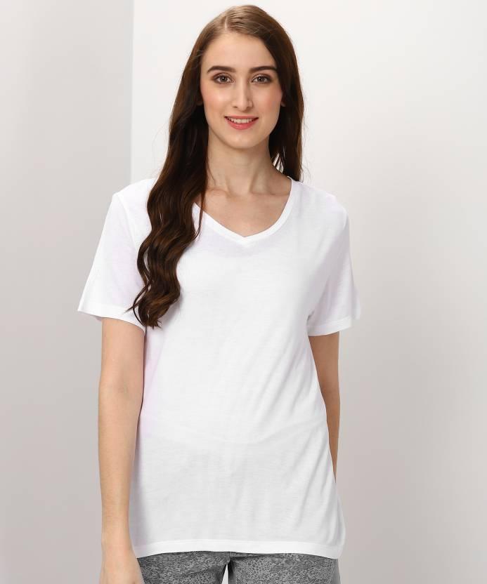 c62a2659daf MARKS & SPENCER Solid Women's V-neck White T-Shirt - Buy MARKS & SPENCER  Solid Women's V-neck White T-Shirt Online at Best Prices in India |  Flipkart.com
