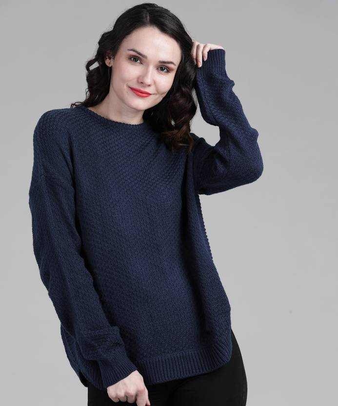 03b2f7b5a33 Pepe Jeans Woven Round Neck Casual Women Blue Sweater - Buy Pepe ...
