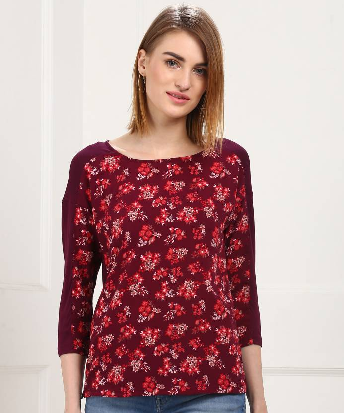 50f8f8002 MARKS & SPENCER Casual 3/4th Sleeve Floral Print Women's Maroon Top - Buy  MARKS & SPENCER Casual 3/4th Sleeve Floral Print Women's Maroon Top Online  at Best ...