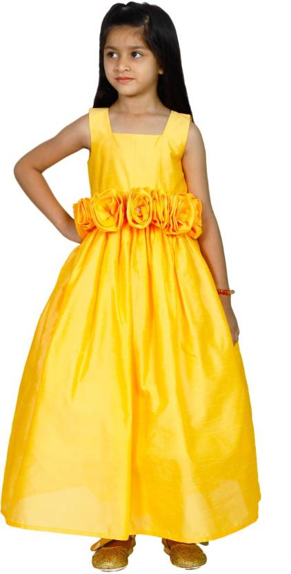 4eb7a0f628 MANNAT FASHION Girls Maxi/Full Length Festive/Wedding Dress (Yellow,  Sleeveless)