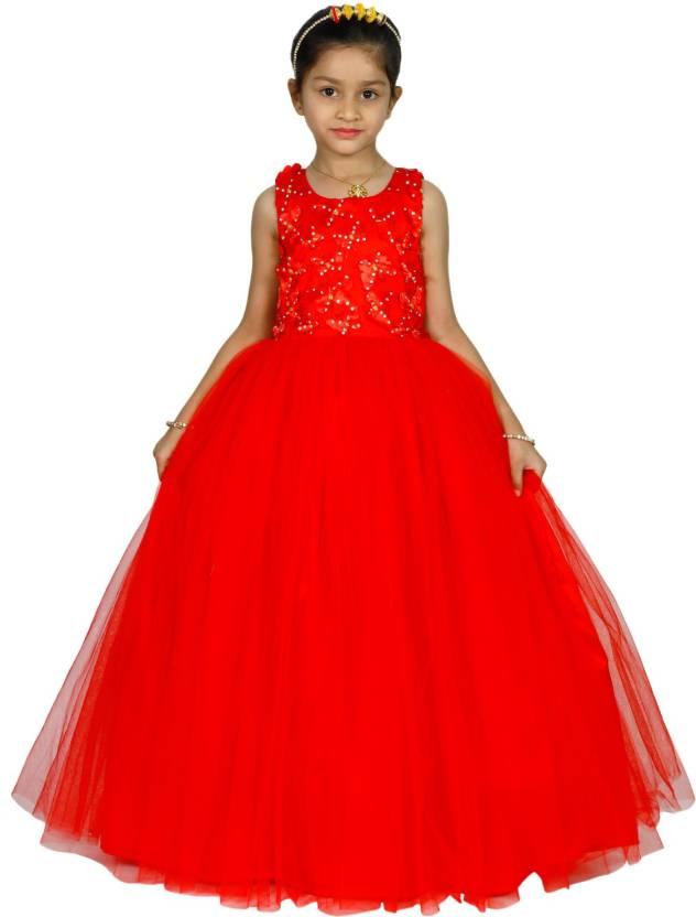 f5ab04fce8 MANNAT FASHION Girls Maxi/Full Length Festive/Wedding Dress (Red,  Sleeveless)