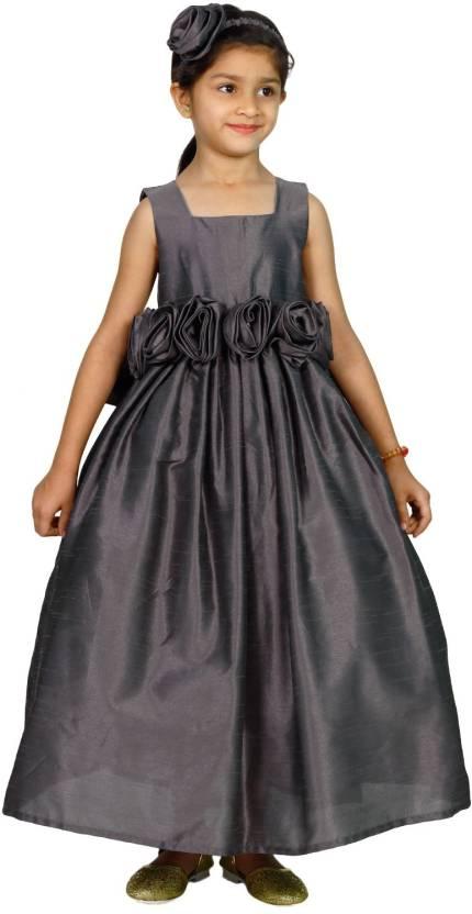 a768dffb17 MANNAT FASHION Girls Maxi/Full Length Festive/Wedding Dress (Grey,  Sleeveless)