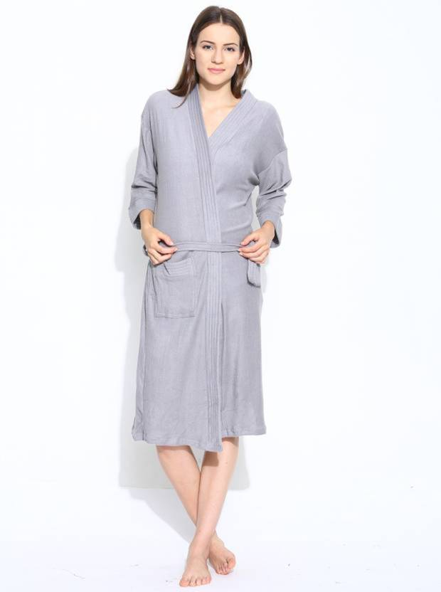a2ed65b908 Linenwalas Silver Grey Medium Bath Robe - Buy Linenwalas Silver Grey ...