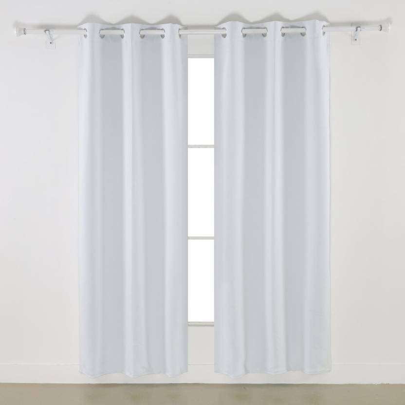 Osho Decor 305 Cm 10 Ft Polyester Long Door Curtain Pack Of 2 Solid White