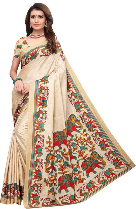 ee36aaa42b Ratnavati Graphic Print Daily Wear Art Silk, Cotton Silk, Silk Cotton  Blend, Silk Saree (Cream)