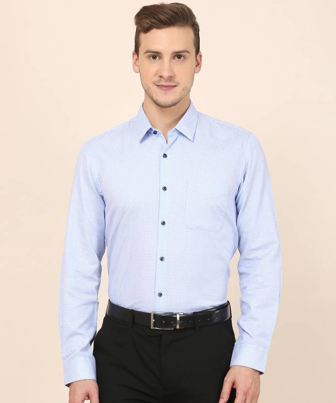 0ba0fb1cf42 Peter England Men Checkered Formal Light Blue Shirt - Buy Peter England Men  Checkered Formal Light Blue Shirt Online at Best Prices in India