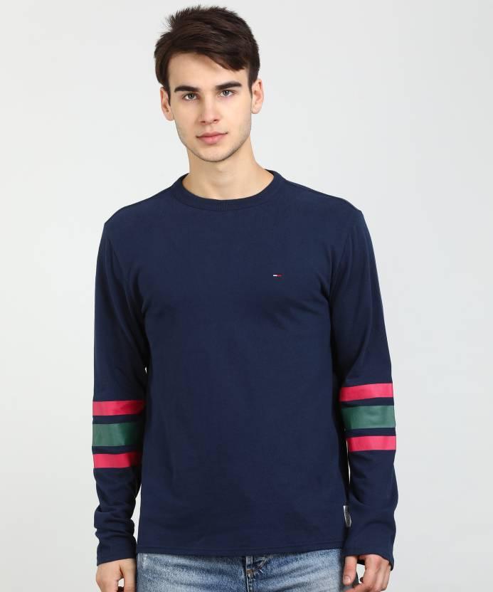 372144fb Tommy Hilfiger Solid Men Round Neck Dark Blue T-Shirt - Buy Tommy ...