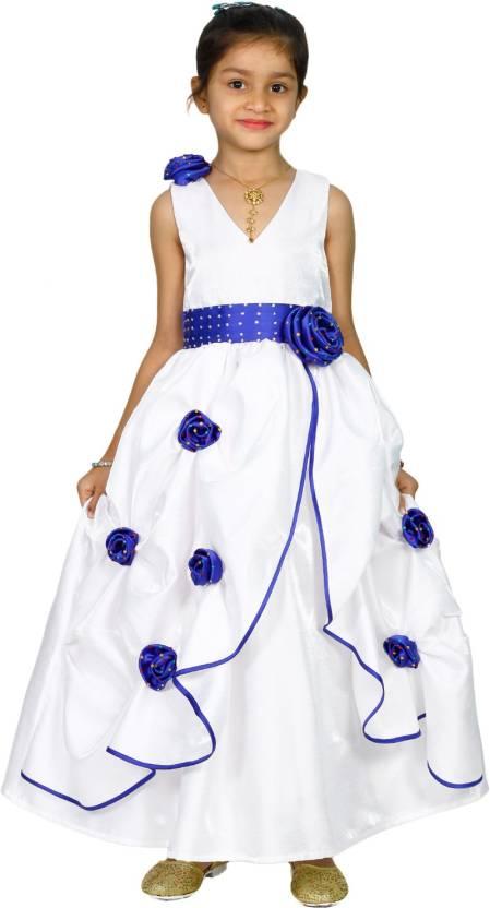 b41e0e0c1a MANNAT FASHION Girls Maxi/Full Length Festive/Wedding Dress (White,  Sleeveless)