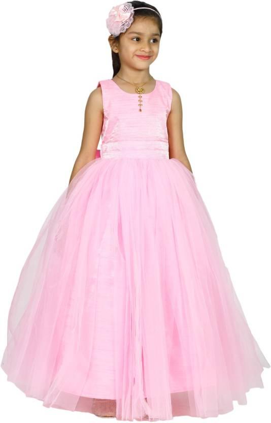 b32a0cfa30 MANNAT FASHION Girls Maxi/Full Length Festive/Wedding Dress (Pink,  Sleeveless)