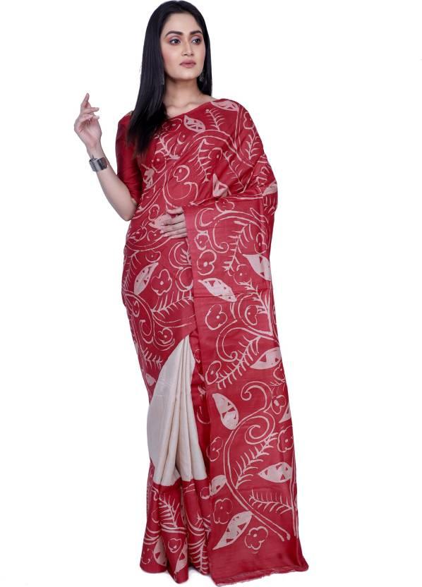 7d789f47d880f0 Buy Rene Printed Handloom Tussar Silk Red Sarees Online   Best Price ...