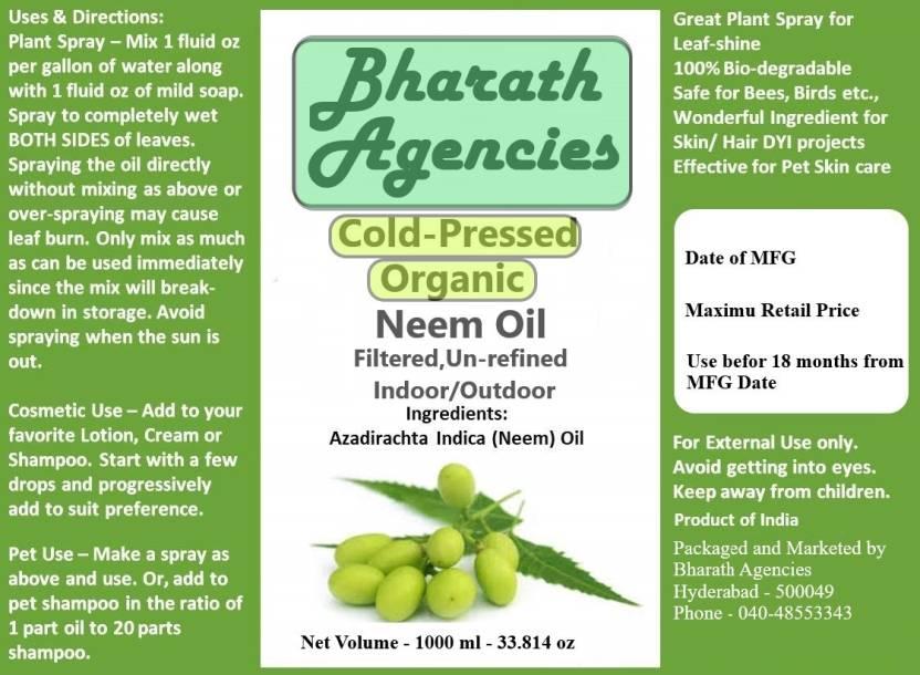 Bharath Agencies Organic - Cold Pressed - Pure Neem Oil