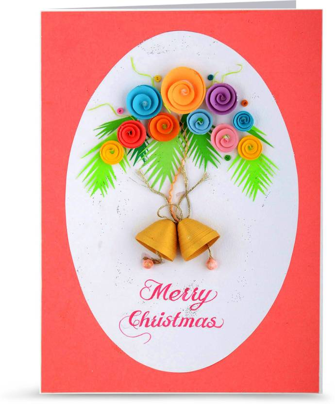 Swapnil Arts Handmade 3d Paper Quilling Merry Christmas Greeting