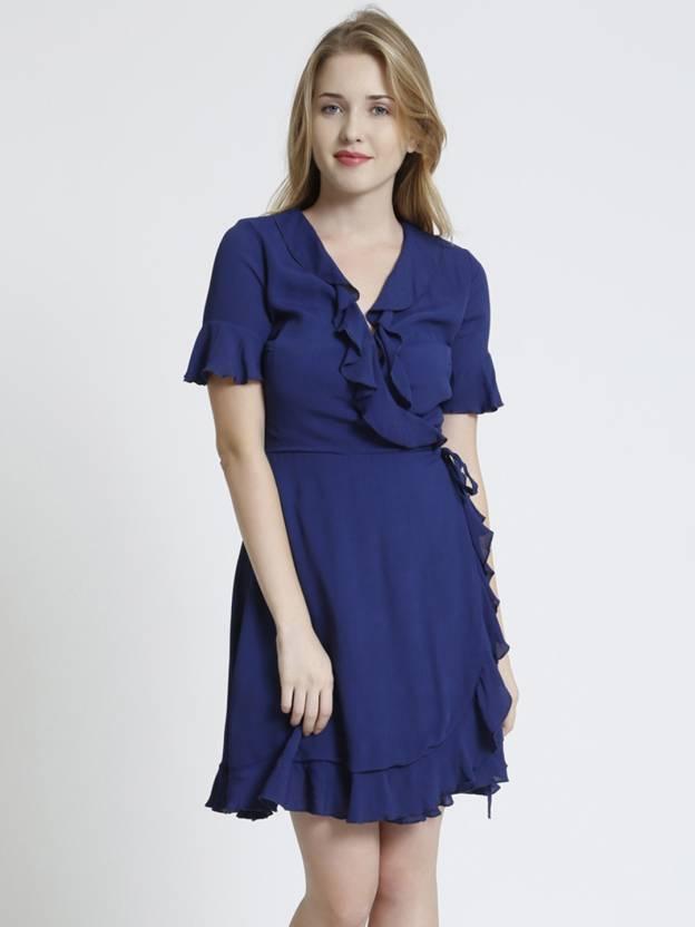 43cac3d496c98 Cover Story Women Wrap Dark Blue Dress - Buy Cover Story Women Wrap ...