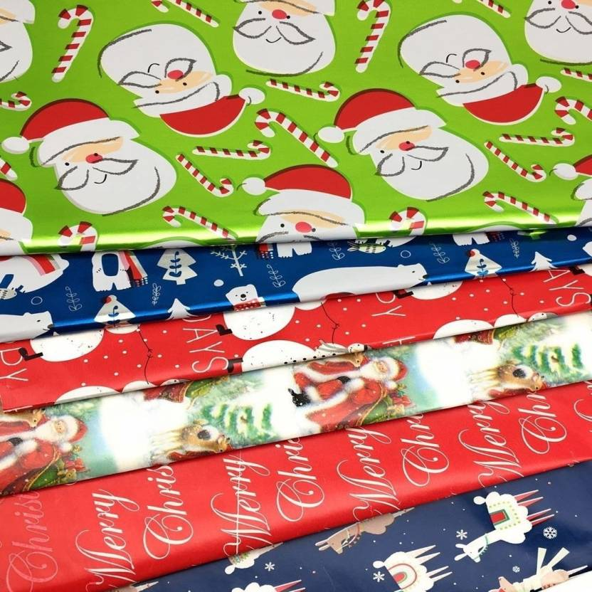 Christmas Gift Wrapper Design.Satyam Kraft Pack Of 10 28 Inch X 19 Inch Gift Wrapping Paper Sheets For Christmas Gift And New Year Gifts Color Paper Christmus Santa Snowman