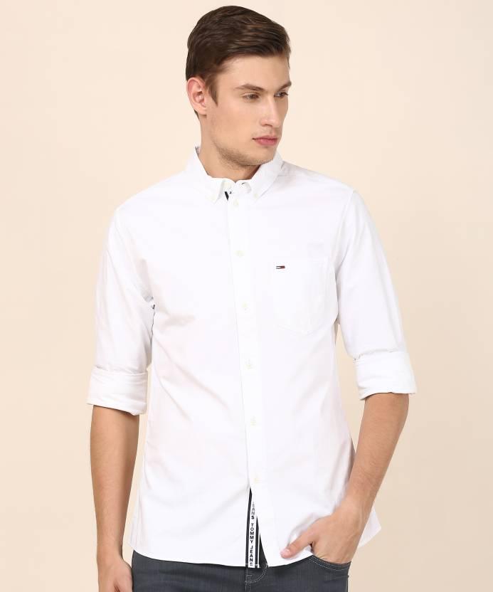 1b52efc3 Tommy Hilfiger Men Solid Casual White Shirt - Buy Tommy Hilfiger Men Solid  Casual White Shirt Online at Best Prices in India | Flipkart.com