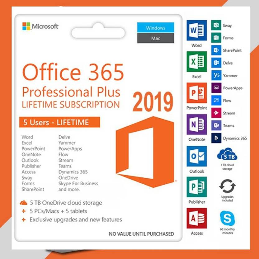 Microsoft Office 365 Pro Plus 2019 Lifetime Subscription - 5Pc Price