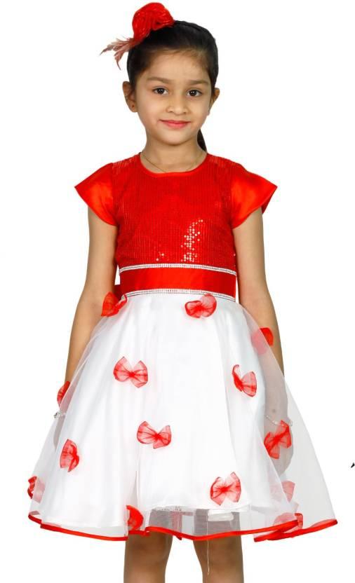 0325e49b0e MANNAT FASHION Girls Midi/Knee Length Festive/Wedding Dress (Multicolor,  Cap Sleeve)