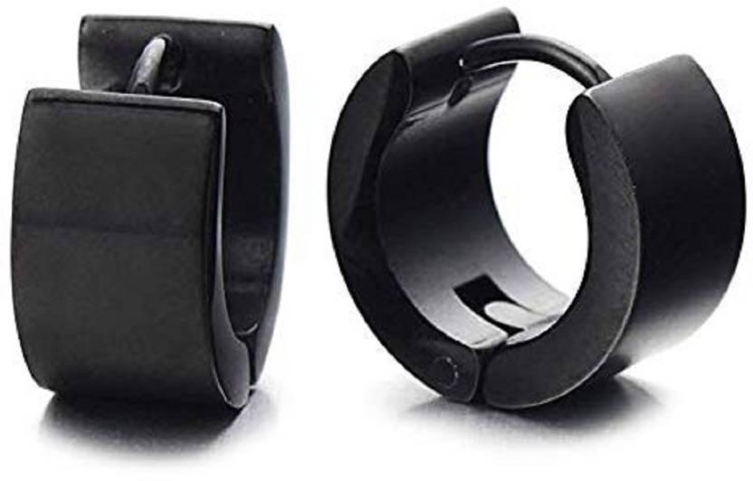 f87a30ce1 Flipkart.com - Buy GADGETSDEN 2pc Mens Womens Black Plain Flat Huggie Hoop  Bali Ear Helix/Lobe/Cartilage Stainless Steel Huggie Earring Online at Best  ...