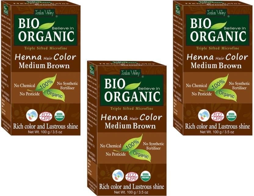 Indus Valley Bio Organic Medium Brown Henna Hair Color Triple Pack