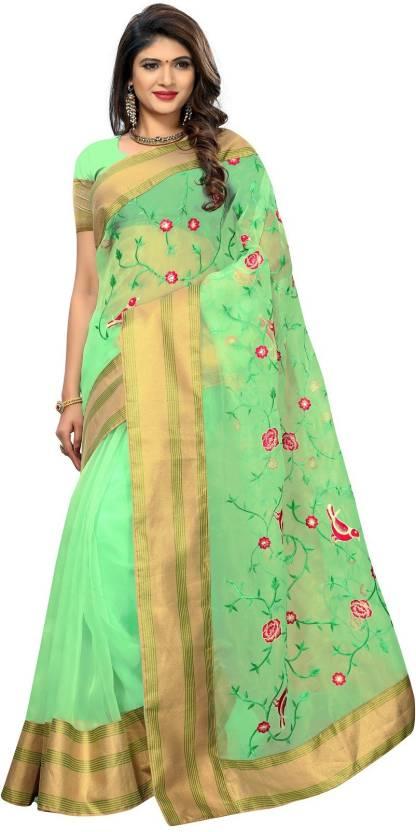 542c95081 NAKRANI TRADING CORPORATION Embroidered Chanderi Tissue Silk Saree (Green)